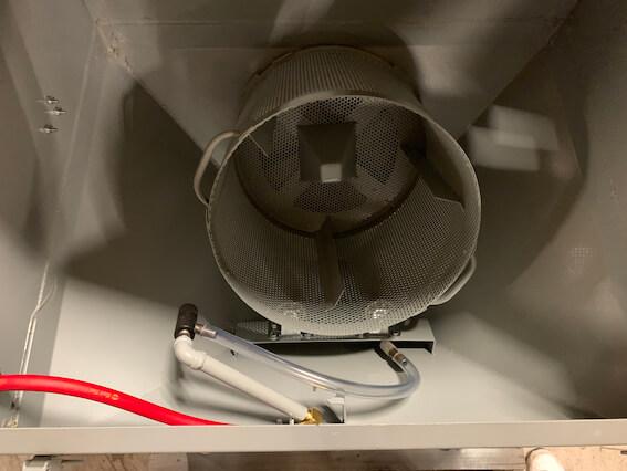 Cyclone T14 tumble blast cabinet - basket - gun left