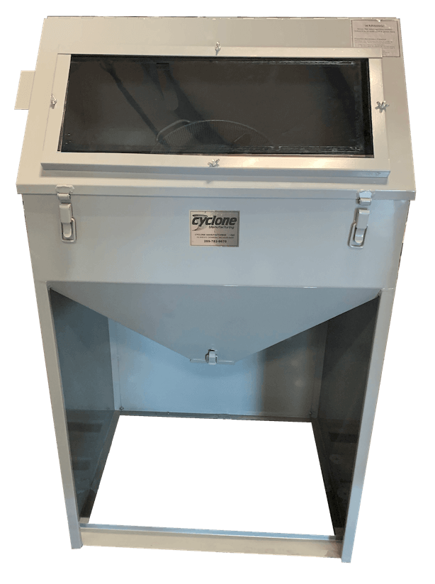 T14 tumble blast cabinet -Front-Clean